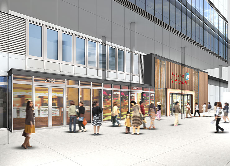 JR富山駅新幹線の高架下に整備される商業施設「きときと市場 とやマルシェ」の南側外観のイメージ図