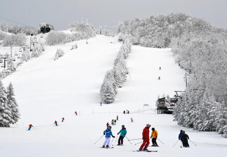 今季の営業が始まった志賀高原のスキー場。共通券のほか、各種自社券の販売が始まった