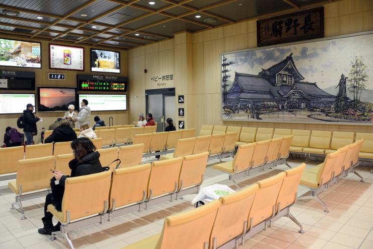 JR長野駅の新幹線改札内で利用が始まった新しい待合室