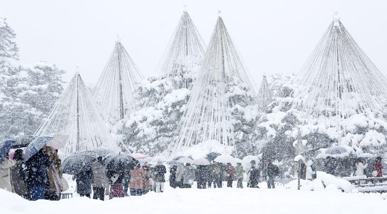 雪の降る園内を散策する観光客=兼六園