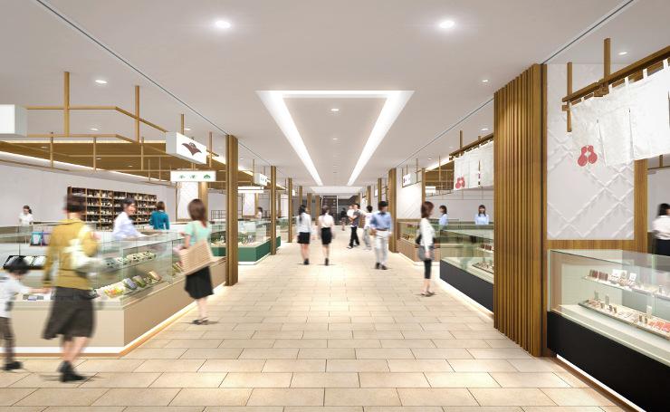 県内各地の名産品が集まる新駅ビル2階の土産品ゾーンのイメージ