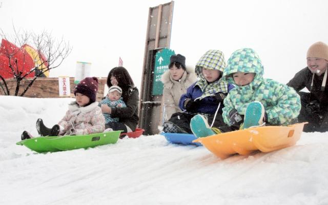 オープンした「かつやま恐竜の森スノーランド」で、そり遊びを楽しむ子どもたち=10日、福井県勝山市の長尾山総合公園