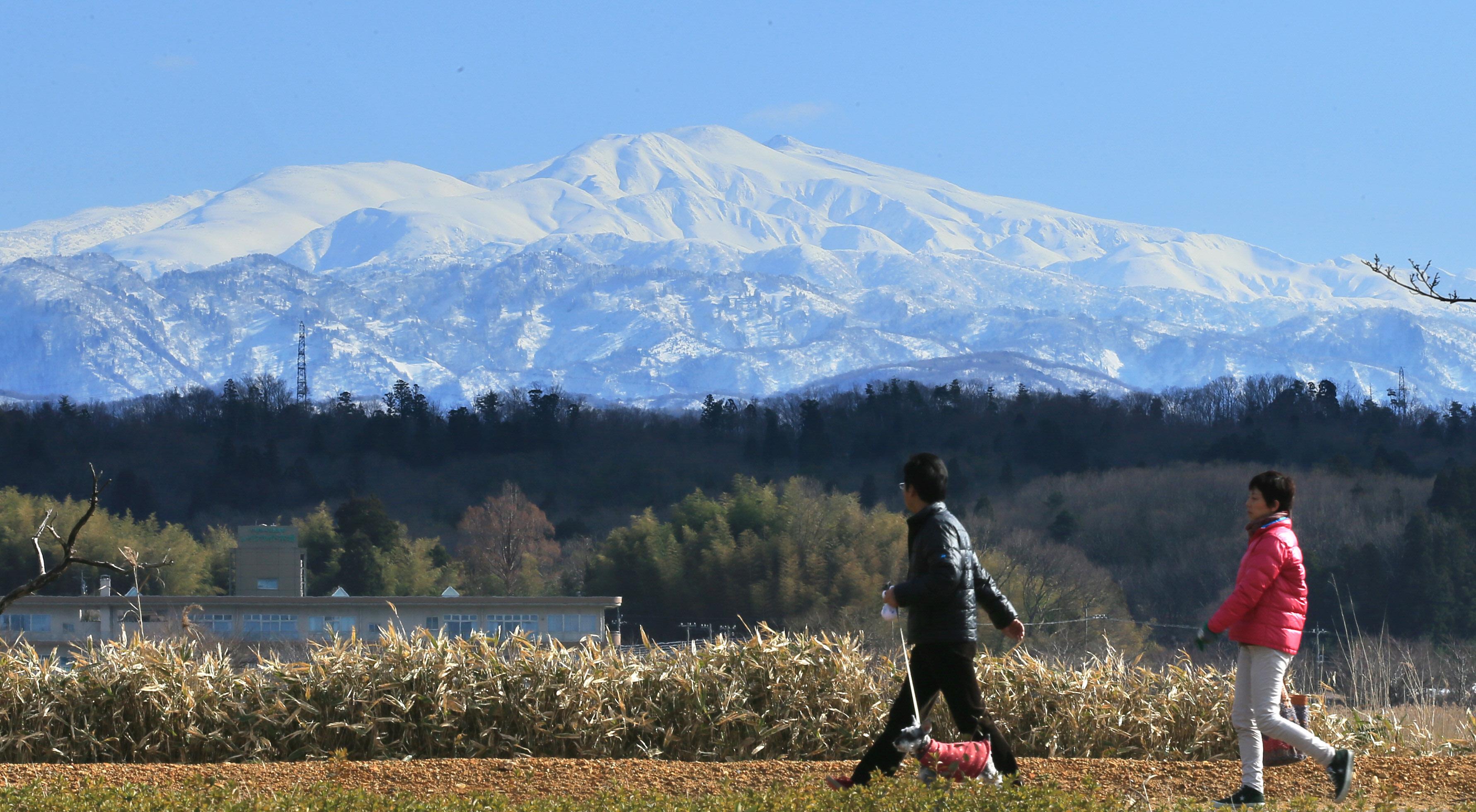 青空にくっきりと浮かび上がった白山=小松市の木場潟公園