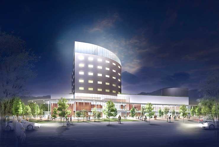 新幹線飯山駅前に建設するリゾートホテルの完成イメージ
