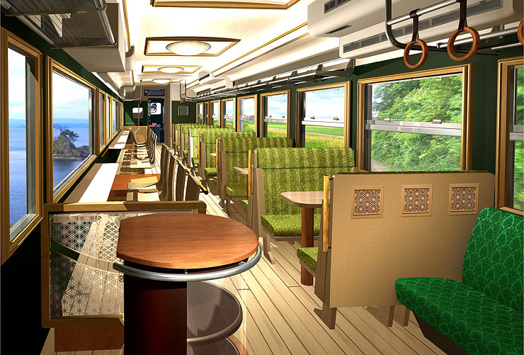 「走るギャラリー」として車窓の風景を楽しむ特別列車の内装イメージ