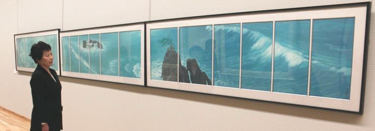 東山魁夷さんの障壁画「濤声」のリトグラフ