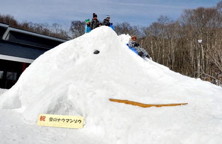 ナウマンゾウの雪像でそりを楽しむ子どもたち