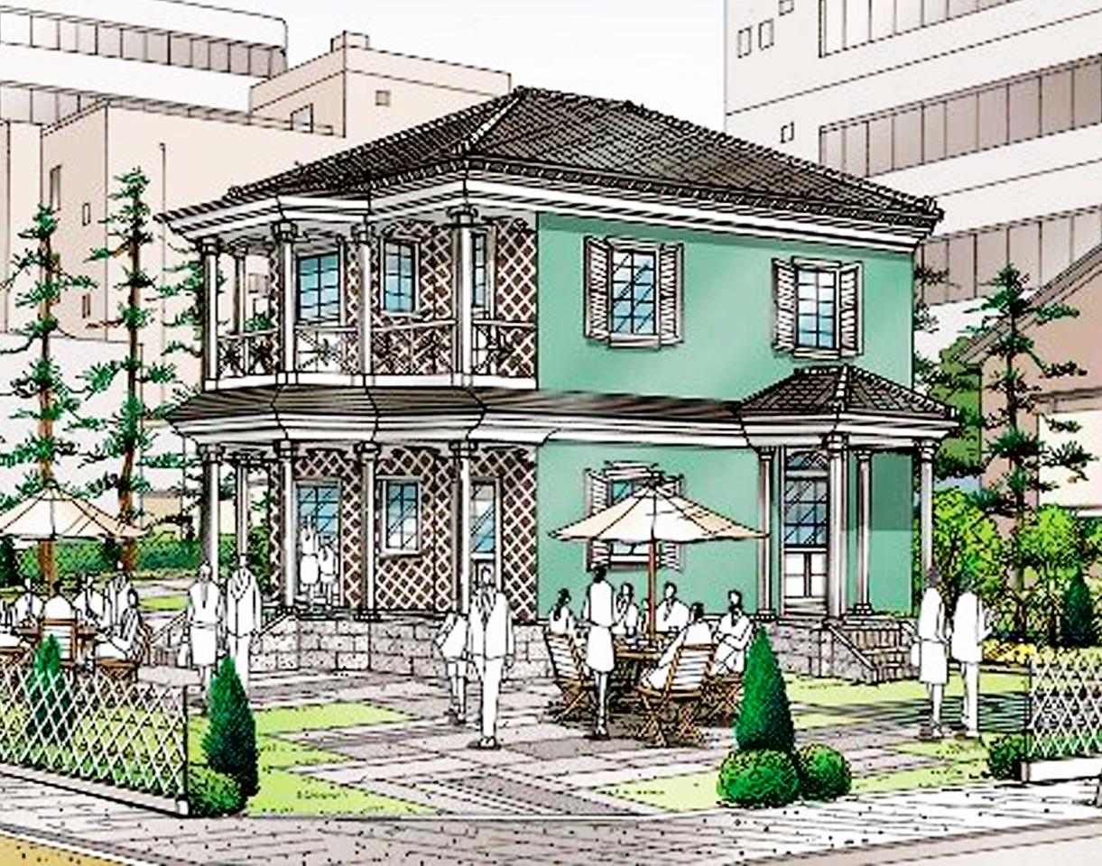 グリフィス館の外観イメージ図。奥におもてなし館が接する計画(福井市提供)