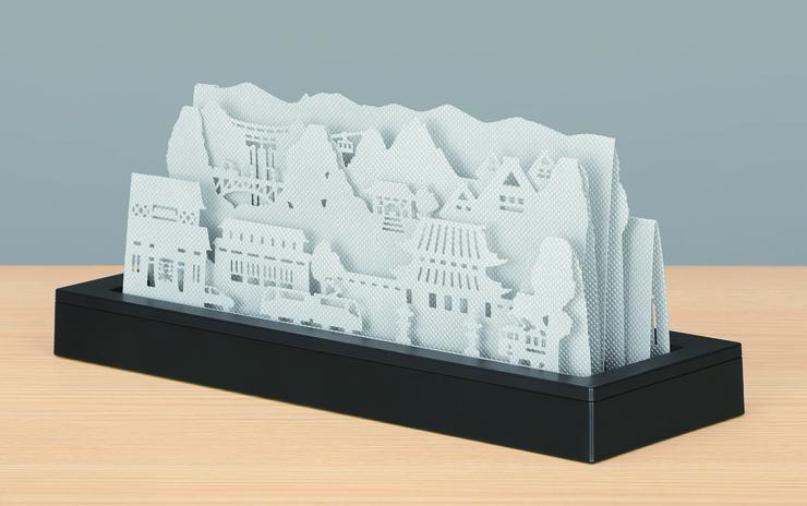 ロキテクノが発売した自然気化式加湿器「ラ・ヴィル」の北陸モデル。富山の名所がふんだんに盛り込まれている