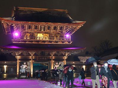 瑞龍寺で夜の祈りと大福市開幕