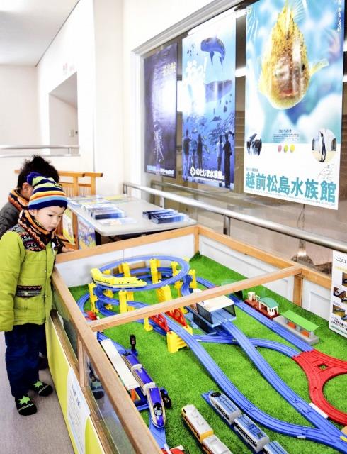 3水族館を紹介するPRコーナー=18日、福井県坂井市三国町の越前松島水族館