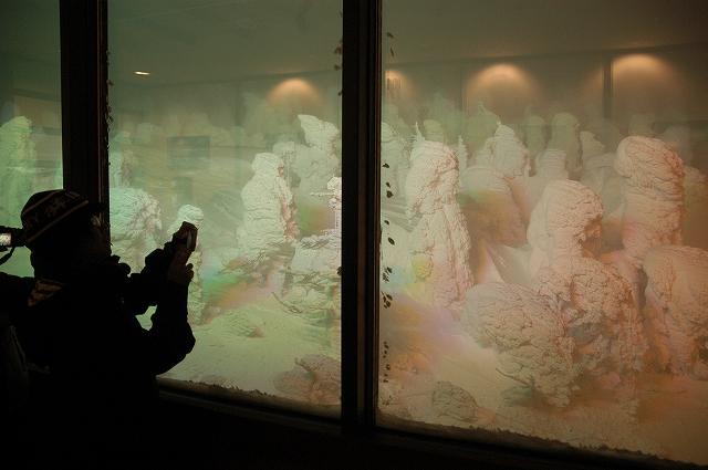 平日にもかかわらず、大勢の人でにぎわう樹氷のライトアップ=山形市蔵王温泉