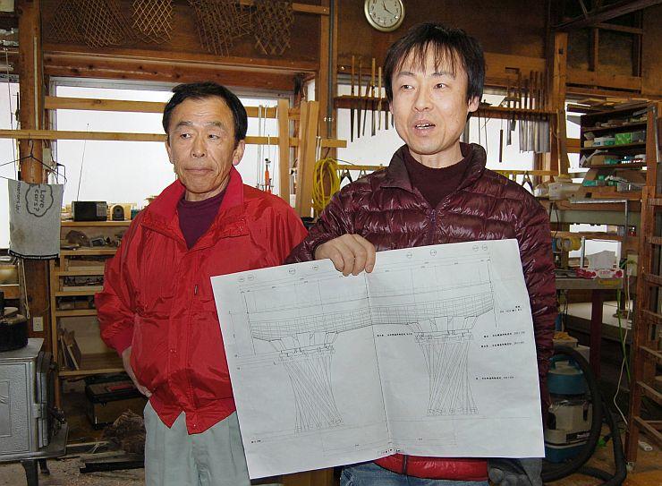 鼓門の模型を製作した建具店の渡辺隆社長(左)と滝沢隆さん=魚沼市堀之内