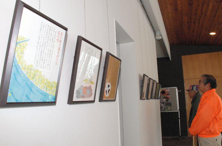 イラストと俳句、解説を組み合わせた額が並ぶ「四季の一茶」展=信濃町の一茶記念館