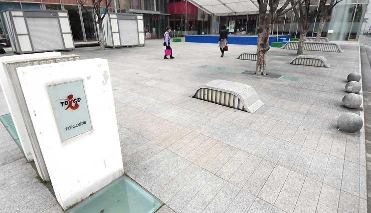 農産物市「ザ・ぎんざ にぎわい市」が開かれる長野市中心市街地の「TOiGO広場」
