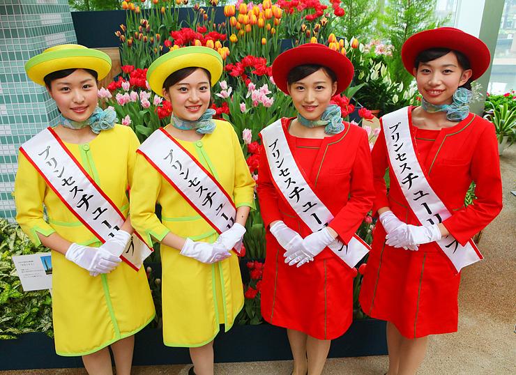 2015プリンセスチューリップに選ばれた(左から)中筋さん、竹村さん、金田さん、橋本さん