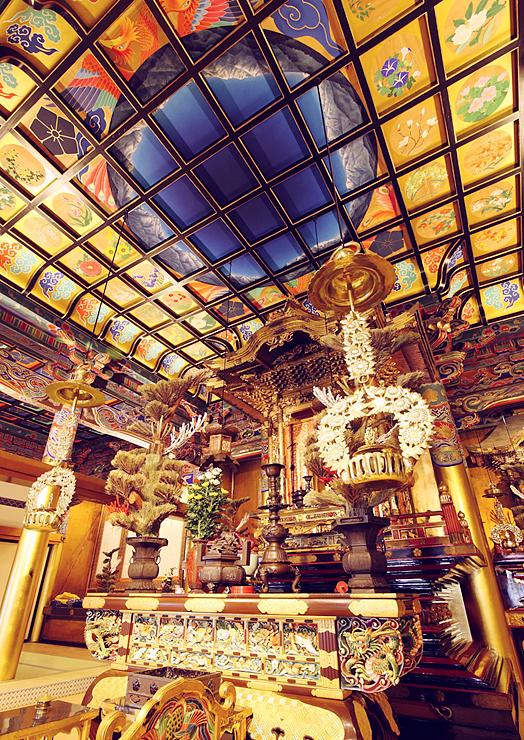 黒部市の日本画家・清河さんが手掛けた善巧寺の天井画