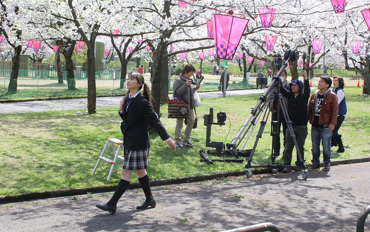 リハーサルで桜並木の間を歩くぶらっくすわんさん(左)