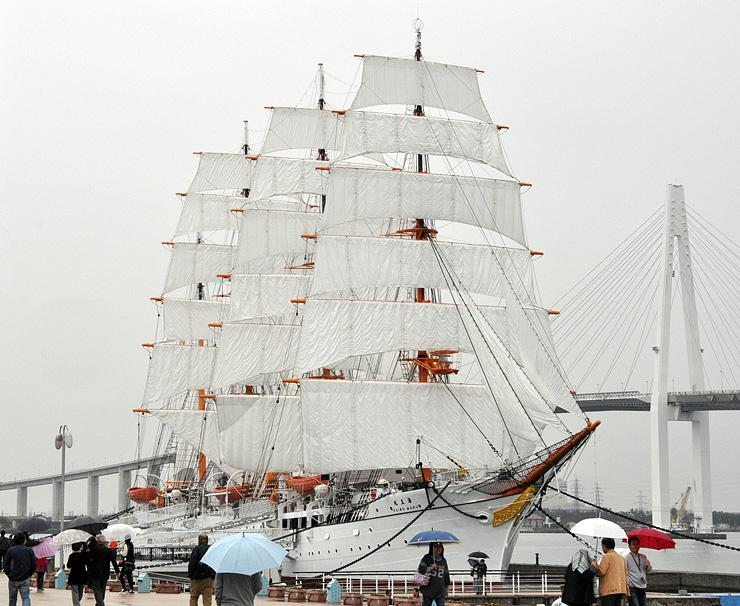 29枚の帆を全て張った帆船海王丸=海王丸パーク