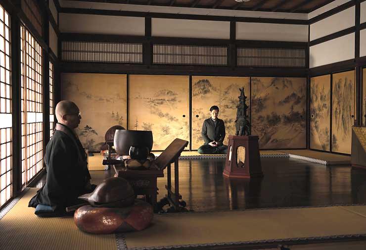 寺院に出掛けて体験する「朝のお勤め」のイメージ。「星のや京都」のプログラムに盛り込んだ