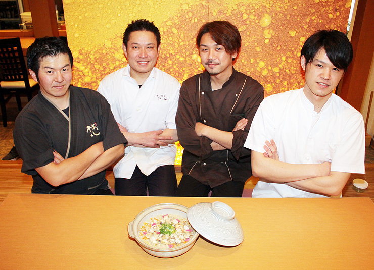 今回考案したレシピで作ったバイ飯を紹介する(左から)海野さん、若井さん、濱多さん、美浪さん=魚津市釈迦堂の「食彩庵 悠」