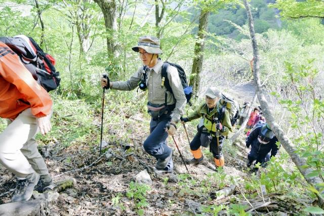 登山を楽しむ参加者6日、大野市の銀杏峰