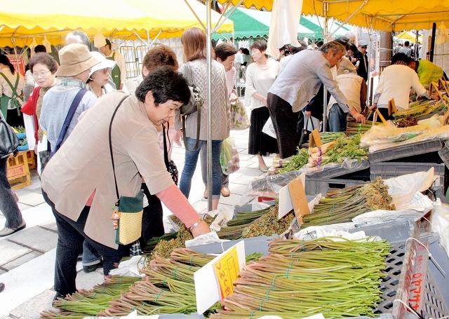 新鮮な山菜などを買い求める人でにぎわう七間朝市・山菜フードピア=9日、大野市の七間通り