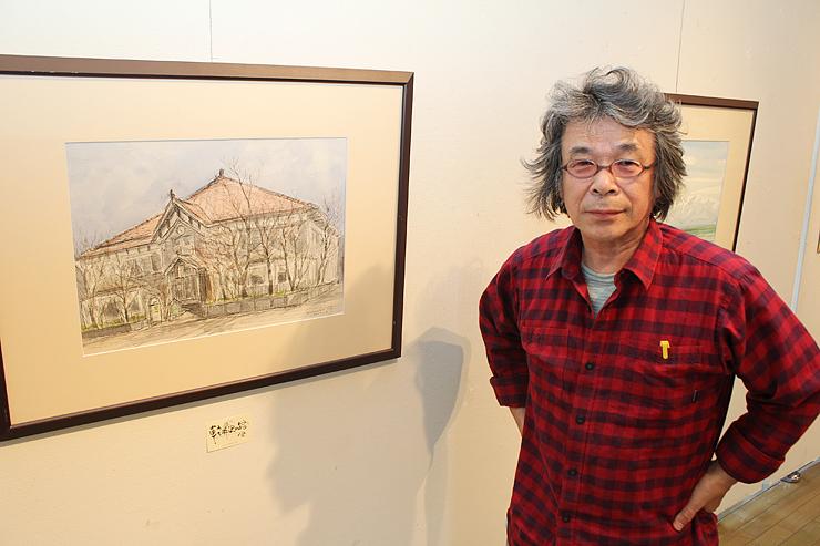 新幹線開業を機に、軽井沢で絵画教室を始めた稲澤さん。左は、稲澤さんが描いた集合場所の軽井沢観光会館