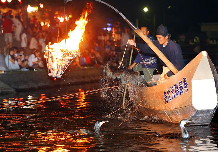 かがり火に照らされた川で披露された鵜飼い漁=富山市婦中町島本郷