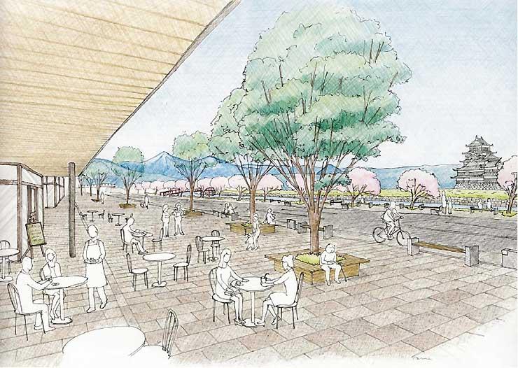 外堀を復元し、市民や観光客が集う空間に整備した内環状北線のイメージ図
