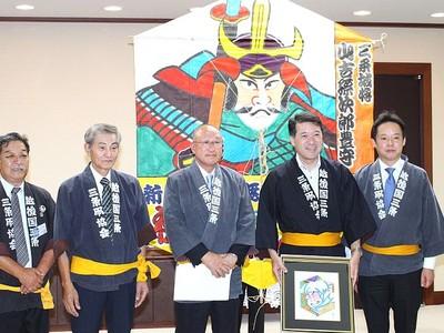 三条凧合戦をPR 6日開幕 主催団体が知事訪問