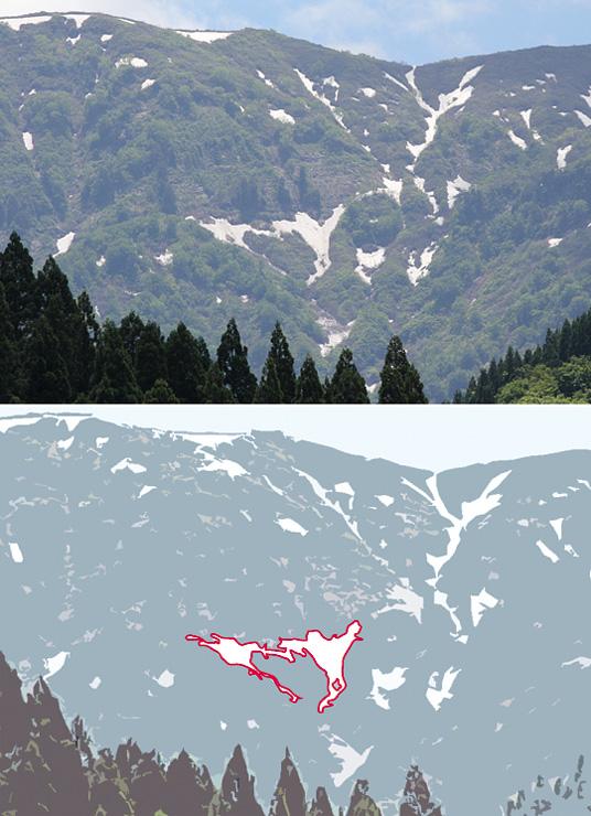 (上)人形山の山肌に浮かび上がった「ひとかた」=南砺市上梨から(下)赤い線で縁取った部分が姉妹の「ひとかた」