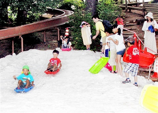 昨夏開かれた雪まつりイベント=2014年7月、勝山市の長尾山総合公園