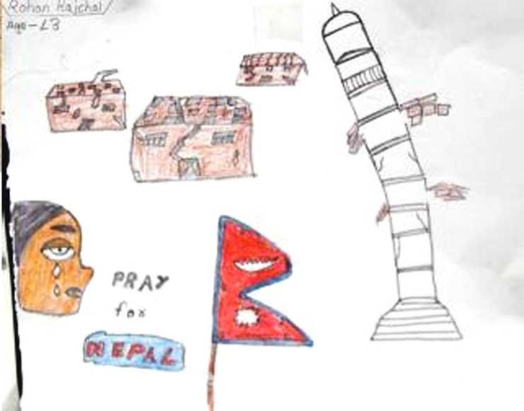 ネパールで被災した子どもが描いた、首都カトマンズで倒壊した「ビンセンタワー」の絵
