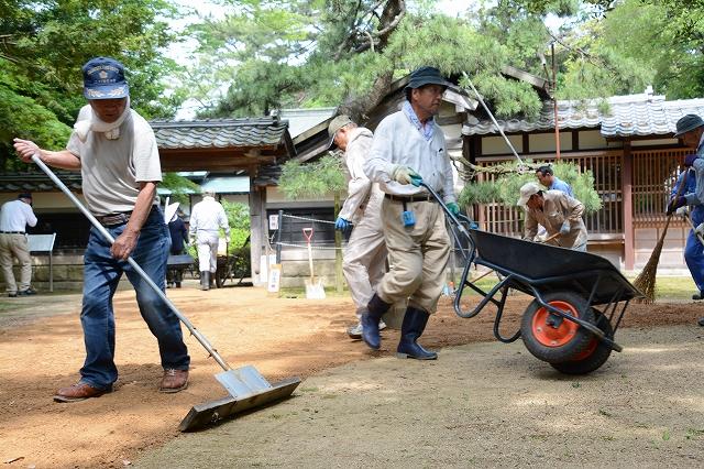 柴田氏庭園を清掃する地元住民ら=14日、敦賀市市野々町1丁目
