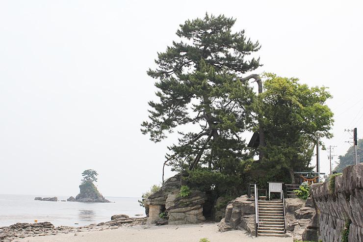 国名勝に追加指定される義経岩(右)。左奥は女岩=高岡市太田の雨晴海岸
