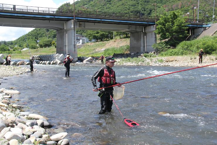 アユの友釣りが解禁された上田市の依田川で釣り糸を垂れる人たち