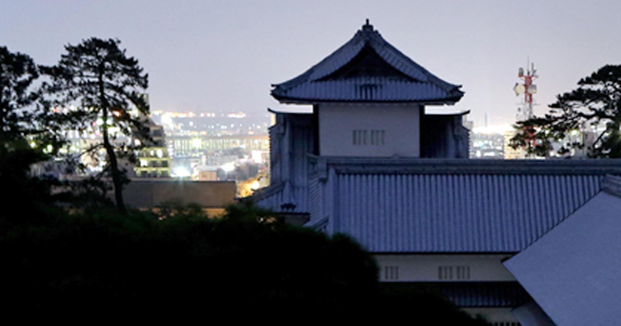 市街地の明かりで暗がりに浮かび上がる菱櫓=22日午後8時5分、金沢城公園