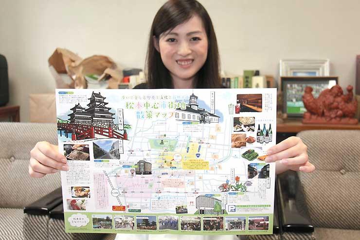 アウェーチームのサポーター向けに松本市が作った中心市街地の地図