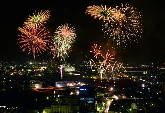 色鮮やかな花火が夜空を彩った昨年の「福井フェニックス花火」=2014年8月1日、福井市自然史博物館屋上から