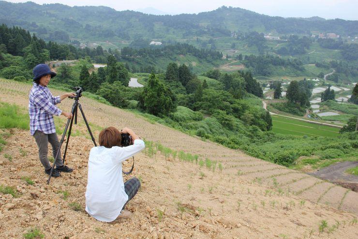 撮影スポットを確認するガイドのメンバー=長岡市山古志虫亀