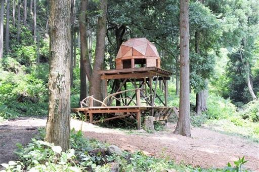4日にオープンする「たけだ風の谷プレーパーク」に設置されたツリードーム=坂井市丸岡町山竹田