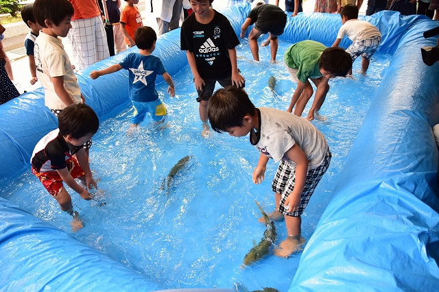 魚のつかみ取り体験を楽しむ子どもたち=福井県海浜自然センター