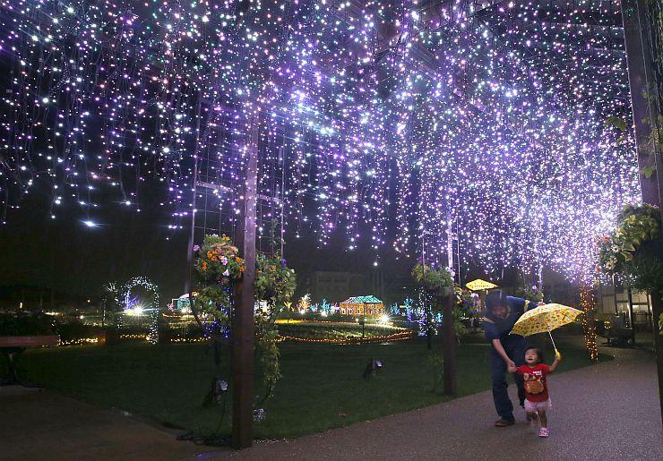 イルミネーションに彩られたキラキラガーデン=18日、新潟市中央区