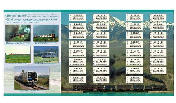 記念入場券が貼られ、列車の写真が印刷されている台紙