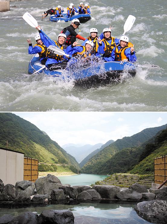 黒部川をボートで下るラフティング(上)、うなづき湖に臨むとちの湯の露天風呂(下)