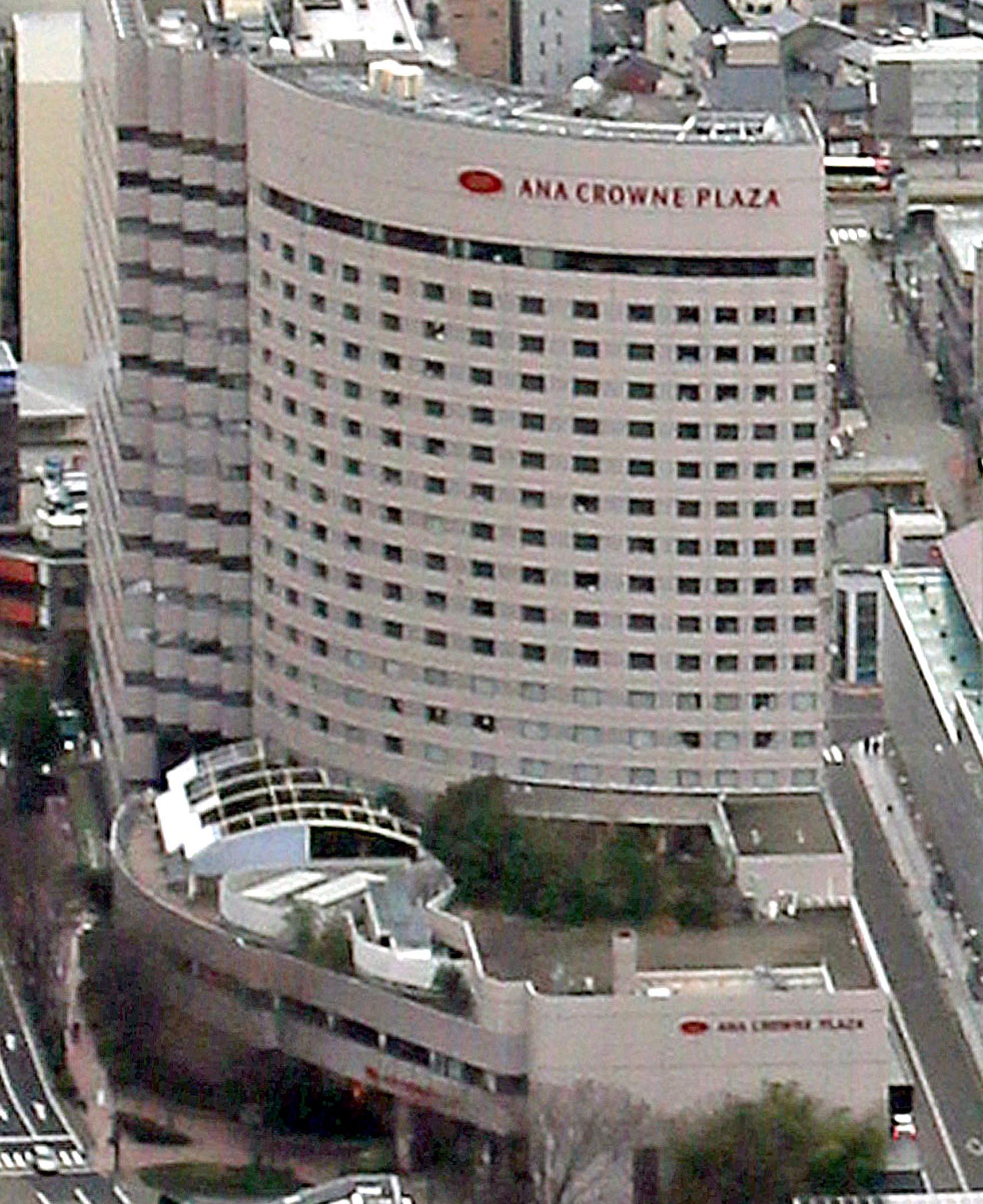 星野リゾートが取得するANAクラウンプラザホテル金沢=北國新聞社ヘリ「あすなろ」から