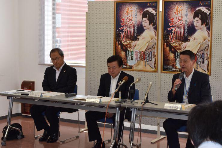 新潟まつりの概要が発表された会見=29日、新潟市中央区