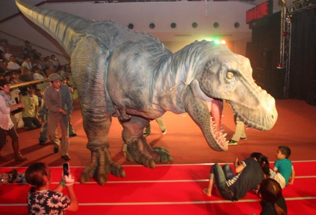 恐竜ショー「ディノ・ア・ライブ」の内覧会で観客を襲うティラノサウルス=31日、勝山市民会館