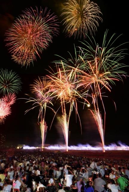 夜空を彩り、多くの見物客を魅了した福井フェニックス花火=31日夜、福井市勝見1丁目の足羽川河川敷(多重処理)